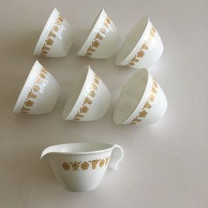 Corelle Butterfly Gold handle hook cup and creamer